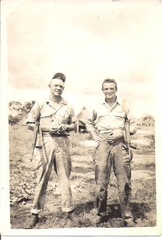 My Paternal Uncle Max Elwood Fletcher and friend at Clark Field, the Philippines during World War ll.