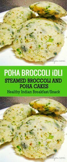 poha broccoli idli, steamed savory poha cakes