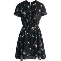 Chicwish Flowery Lullaby Chiffon Dress in Black ($56) ❤ liked on Polyvore featuring dresses, black, floral slip dress, floral chiffon dress, flower pattern dress, floral print chiffon dress and lip dress