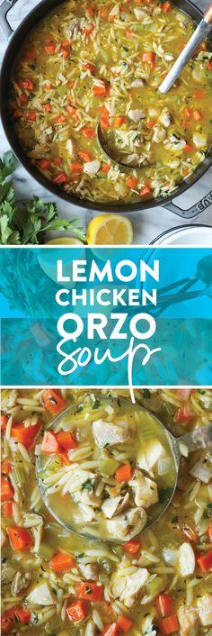 Lemon Chicken Orzo Soup - Damn Delicious Soup Recipes, Chicken Recipes, Dinner Recipes, Cooking Recipes, Healthy Recipes, Dinner Ideas, Delicious Recipes, Tasty, Yummy Food