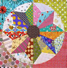 """Scrappy Windmills quilt by Chris Jurd at Patchwork Fundamentals.  Large (20"""")  blocks. 2014 Bloggers Quilt Festival."""