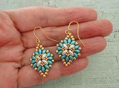 Linda's Crafty Inspirations: Cute & Easy Earrings - Aqua & Gold