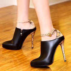 Cheap 2014 cuero genuino 11.5 CM zapatos de tacón alto delgadas mujeres de la moda bombas patrón de piel de serpiente espalda cierre de cremallera lateral P101, Compro Calidad Bombas de las mujeres directamente de los surtidores de China:                                                                                                                 &n