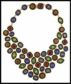 Kara by Kara Ross Multi-Colored Crystal & Ebony Resin Bib Necklace ($865). Via Diamonds in the Library's jewelry gift guide.