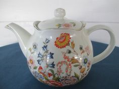 Vintage White Porcelain Floral Teapot With Gold Trim  by BitofHope