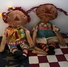 NOTE: These specific dolls have sold (sorry!). However, they can be ordered again and I can reproduce them very close to the originals in this picture. Here's the original descriptioin: I have these t