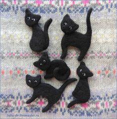 Купить Черный кот ( черная кошка ) брошь  войлочная валяная шерстяная - черный