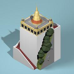Isometric Lowpoly Bangkok - Golden Mountain