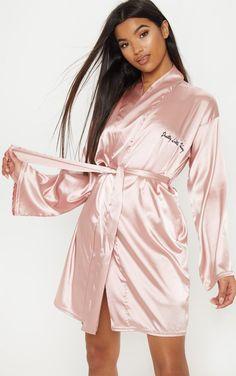 3b17cdffb9d9 PRETTYLITTLETHING Baby Pink Satin Robe Sleepwear Women