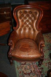 late victorian antiques leather armchair