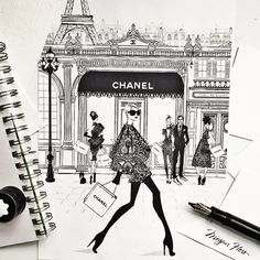 The fourth illustration from my new LACE print Collection. This print is titled: LACE CHANEL...In Paris and everyone is dressed in lace, even the Chanel awning! Available in Limited Edition from MEGANHESS.COM
