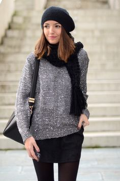 glittered grey sweater & black