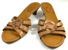 Cole Haan Sandals Solid Brown Leather Slide On Strappy Shoes Womens Size 10.5 B #ColeHaan #Strappy