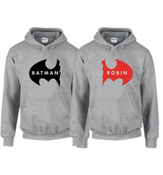 Hoodie Trendy - Batman and Robin Couples Hoodie available in Gray, White, Blue, Green, and Yellow