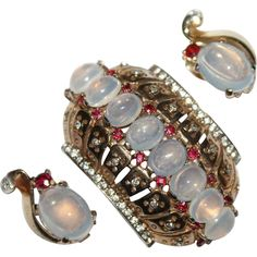 Trifari Sterling Faux Moonstone Fur Clip Pin Earrings Set