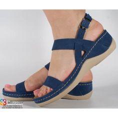 Sandale albastre din piele naturala foarte comode dama/dame/femei (cod 921)