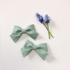 Mini School Girl Bow Serafina with Nylon Band or Hair Clip, nylon baby headbands, nylon bow headbands, hair bows, preemie headband, Petite bows, pigtail bows, pigtails, pigtail set, Etsy store