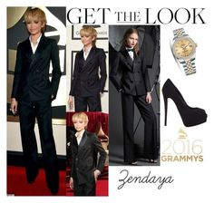 """""""Zendaya On The Red Carpet Grammy Awards February.15.2016"""" by valensmilerstyle ❤ liked on Polyvore featuring Dsquared2, Giuseppe Zanotti, Rolex, women's clothing, women, female, woman, misses and juniors"""