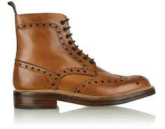 Grenson Tan Wingtip Darby Brogue Boots