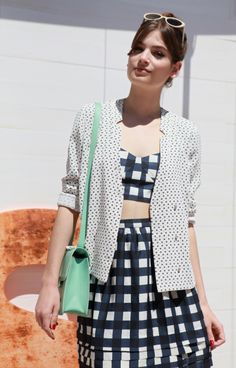 The French actress Alma Jodorowsky in Tara Jarmon Spring Summer 13 in Cannes, France.  #tarajarmon #outfit #print #checks