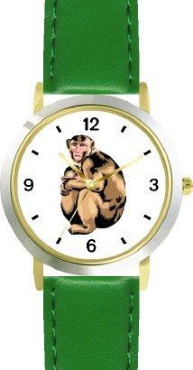 Monkey - Mother and Child Monkey Animal - WATCHBUDDY® DELUXE TWO-TONE THEME WATCH - Arabic Numbers - Green Leather Strap-Children's Size-Small ( Boy's Size & Girl's Size ) WatchBuddy. $49.95. Save 38%!