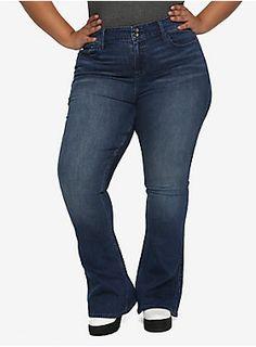 d0b7527fc Fabulously Flared // HT Denim Indigo Hi-Rise Flared Jeans Plus Size