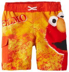 27de33f2c8bf7 Sesame Street Little Boys' Elmo Swim Short, Dark Orange, 3T