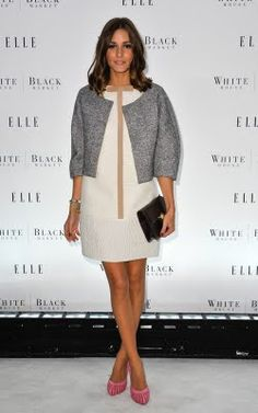 #OliviaPalermo #Celebrity #Recreate      Outfit idea: formal, business-y jacket + dress (white is great for summer) + bright heels (for a pop of color).
