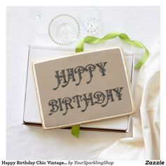 Happy Birthday Chic Vintage Typography Taupe Jumbo Shortbread Cookie