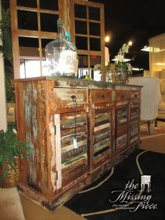 "4 Door, 4 drawer solid reclaimed wood buffet with shutter doors in a distressed finish. There is a shelf behind either set of doors. Would go perfectly in a living room, dining room or bedroom! 72""L x 16""D x 36""H."