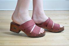 Vtg 90s wooden heel platform sandals // stacked by BrownCowVintage, $36.00