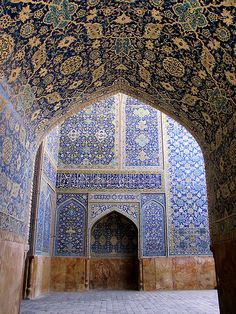 Isfahan Mosque. How on earth was such elaborate work ever done! Isfahan is know for its architecture, rugs and art.