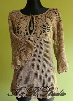 Crochet Blouse Tunic. Made to order. Hand made. 100 by AandRstudio, $260.00