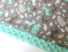 Forest Minky Baby Blanket - MADE TO ORDER - Grey and Aqua Minky Blanket - Owls, Fox, Deer - Baby Blanket - Cot Blanket - Baby Bedding