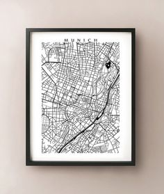 Black and white Munich, Germany city map print. See our colour Munich map here: