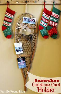 Snowshoe Christmas Card Holder Craft Tutorial via @familyfocusblog