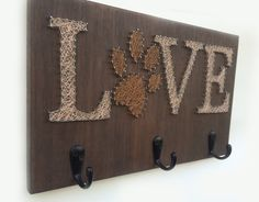 Rustic String Art Leash Holder by Edgeofthewoodsart on Etsy