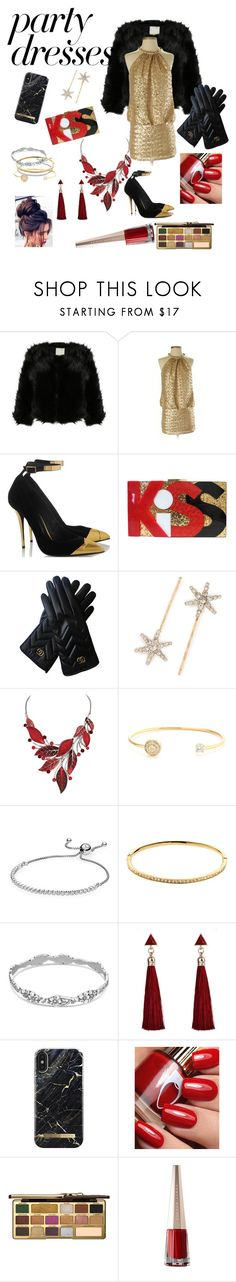 """""""#PolyPresents: Party Dresses"""" by jaydahontherocks ❤ liked on Polyvore featuring Laundry by Shelli Segal, Gucci, Jennifer Behr, Belk Silverworks, Melissa Odabash, Too Faced Cosmetics, contestentry and polyPresents"""