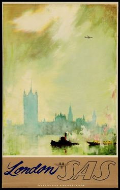 London Scandinavian Airlines System 1950s Poster by BloominLuvly