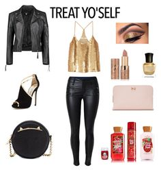 """""""Gold and Leather"""" by chloestar1612 ❤ liked on Polyvore featuring Boohoo, TIBI, Jimmy Choo, Betsey Johnson, Deborah Lippmann, tarte and Ted Baker"""