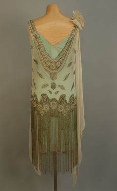 JEWELED FLAPPER DRESS with BEADED FRINGE, 1920's