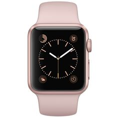 Apple Watch Caixa cor de ouro rosa de alumínio com pulseira esportiva... ❤ liked on Polyvore featuring jewelry, watches, apple, military inspired watches, military watches, rose gold jewelry, red gold jewelry and pink gold jewelry