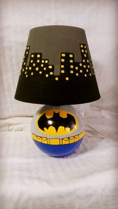 Batman Inspired Lamp. by AWhimsicalHoot on Etsy, $60.00