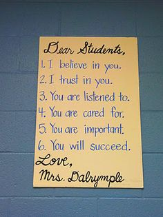 letter to students hanging in classroom