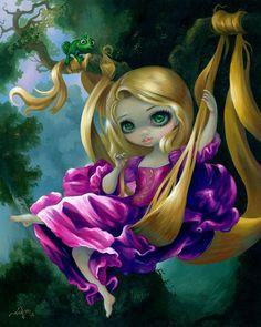 Rapunzel in the Swing - Tangled Disney Rapunzel by Jasmine Becket-Griffith - WonderGround Gallery - Tangled Rapunzel in Fragonard's The Swing strangeling Disney Rapunzel, Rapunzel Flynn, Jasmine Becket Griffith, Marvel Images, Disney Fine Art, Robert Louis Stevenson, Gothic Fairy, Disney Kunst, Cross Paintings