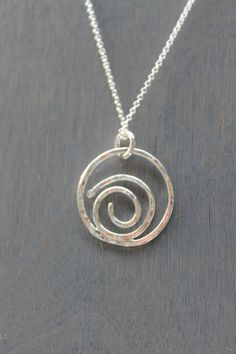 "Spiral Wave 18"" Sterling Silver Necklace by HaveAllThisJewelry on Etsy The spiral is a reminder of growth, evolution and a reminder to let go of all that is holding you back. #SterlingSilverClothes"