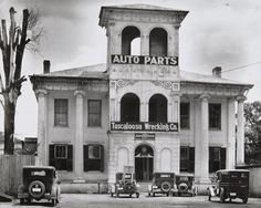 Walker Evans' 1936 photograph of the Tuscaloosa Wrecking Company (Tuscaloosa, AL). A revival of Greek architectural style and autos alike. Not to forget the Italianate details and American landscapes.