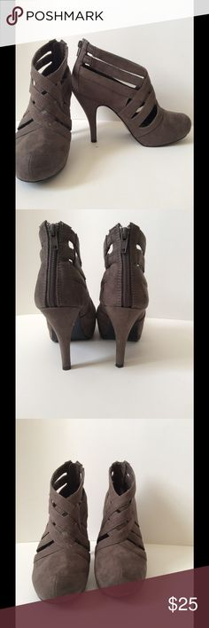 Cute Gray Booties Size 8 Gray cut out Booties. Hardly worn. Unlisted Shoes Ankle Boots & Booties