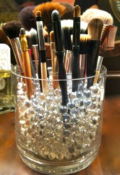 round cylinder vases with makeup brushes - Google Search