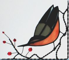 This is a good use of wire - Nuthatch stained glass window corner